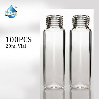 100pcs 20mL Clear Glass Screw Vial Sample Solvent HPLC Application High Quality