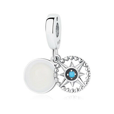 Authentic Sterling Silver Compass Dangle Enamel & Cyan Blue Crystal Charm Bead
