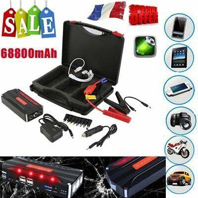 68800mAh Voiture Chargeur Batterie Auto Booster Jump Starter Charge 12V 4USB Fr