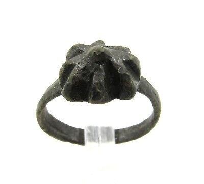 Authentic Late Medieval Tudor Bronze Ring W/ Spike - G125