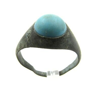 Authentic Late / Post Medieval Bronze Ring W/ Stone - G128