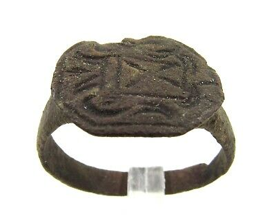 Authentic Medieval Crusaders Era Bronze Heraldic Seal Ring - Wearable - E853