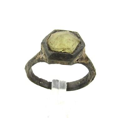 Authentic Medieval Bronze Enamelled Ring W/ Glass In Bezel - Wearable - G76