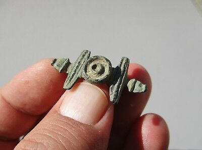 ancient Roman bronze enameled zoomorphic shape engraved brooch