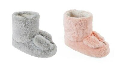 Girls Cute Bunny Rabbit Ears Fluffy Soft Faux Fur Slipper Booties In 4 UK Sizes