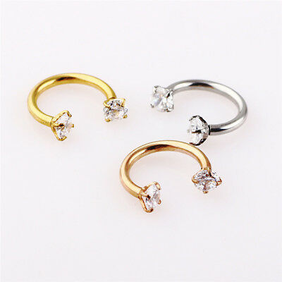 16g Surgical Steel Zircon Horseshoe Nose Ring Stud Septum Ear Piercing Jewelry