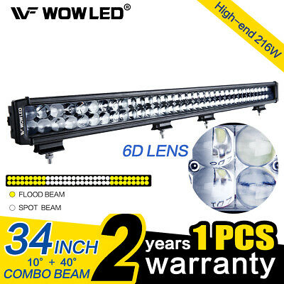 """WOWLED - 34"""" 216W Offroad LED Light Bar Combo Beam Driving Work Fog Lights Jeep"""