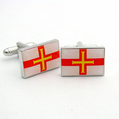Select Gifts Guernsey Flag Cufflinks Engraved Tie Clip Matching Box Set