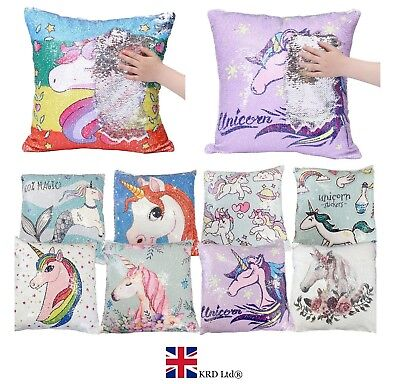 "16"" Reversible Sequin UNICORN PILLOW CASE Magic Glitter Sofa Cushion Cover Touch"