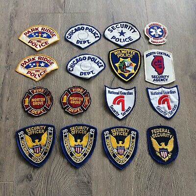 Chicago Police Collection of 16 Patches Paramedic Fire Units security Agencies