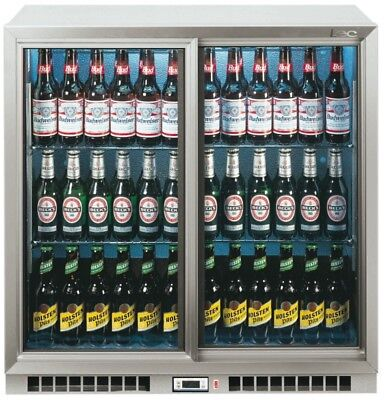 Lec BC9027GLED Double Door Bar Cooler in Silver FA0148