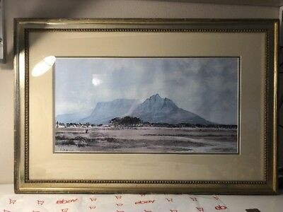 Vintage Large painting,{ Beautiful mountain landscape, is signed, framed! } 1984