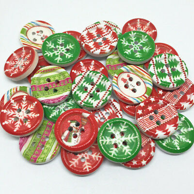 50 x 18mm Christmas 4 Hole Buttons, Craft Embellishments Card Making Xmas