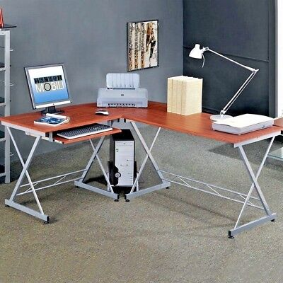 L-Shape Corner Computer Desk Glass Laptop Table Workstation Home Office Wood