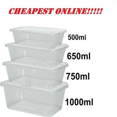 Clear Plastic Microwave Food Storage Containers with Lids - Take Away Containers