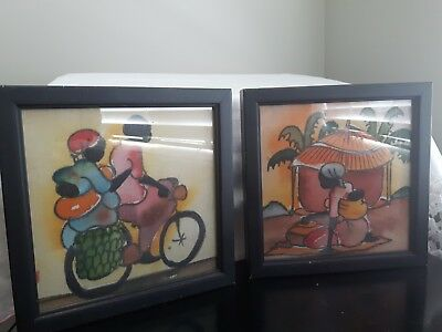 Vintage framed African Prints painted canvas? cloth? shadow box style handmade