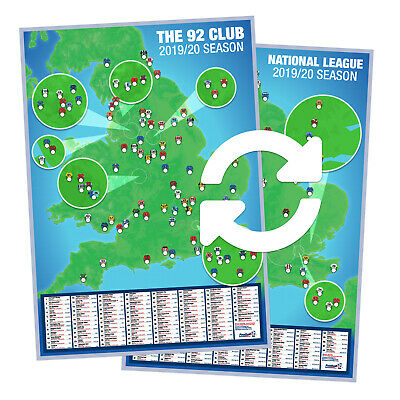 Football Ground Map 92 Club + National League ~ Double-sided A1 Poster