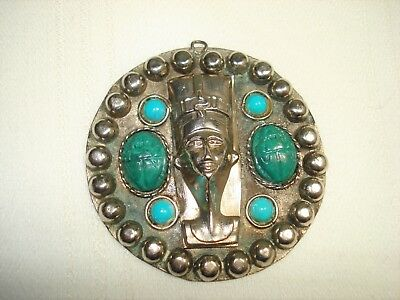 Vintage Large Egyptian Face Silver Tone Pendant Turquoise Cabochons Marked