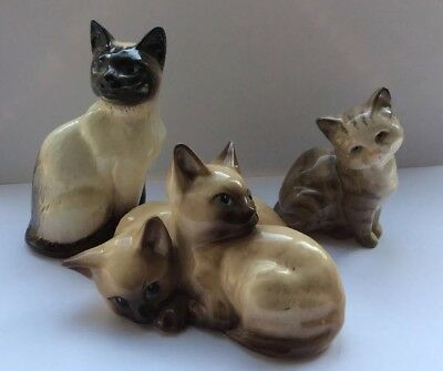 Rare Group Of Three Beswick Cat Figures Vintage Collectible Siamese