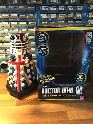"""Dr Who 12"""" Dalek 50th Anniversary Union Jack Edition Light & Sound with Box."""