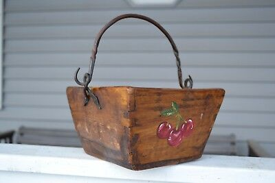 Antique Rice/Berry Bucket-Hand Painted Cherries With Rustic Wrought iron Handle
