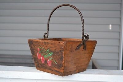 Vintage Antique Rice/Berry Bucket-Hand Painted Strawberries--Wrought iron Handle