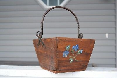 Vintage Antique Rice/Berry Bucket-Hand Painted Blueberries & Wrought iron Handle