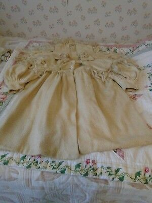 Edwardian Child's Wool Coat;White with Hair Accents;Est.Sale; Structuraly lSound