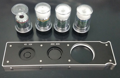 Microscope Objective Phase Contrast Lens Set w/ Phase Slider- 4x, 10x, 20x, 40x