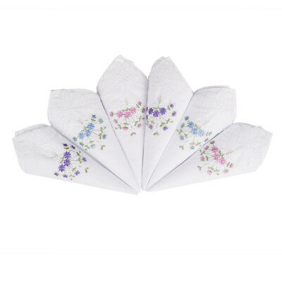 Womens Ladies Cotton Embroidered Flowers Handkerchiefs Hankies Floral Assorted