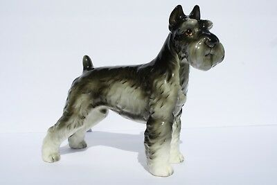 Vintage Shafford Porcelain Schnauzer Dog Figurine Labeled Japan and Numbered 160