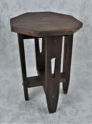"""Antique 19th Century Octagon Primitive Mission Plant Stand End Table 16"""" Tall"""
