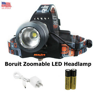 Boruit Zoomable LED Headlamp with Rechargeable Batteries 2000 Lumens For Running