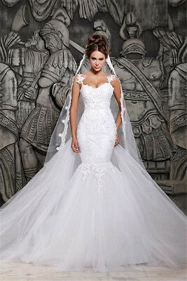 White/Ivory Lace Wedding Dress Mermaid Tulle Bridal Gown Appliqued Sheer Back