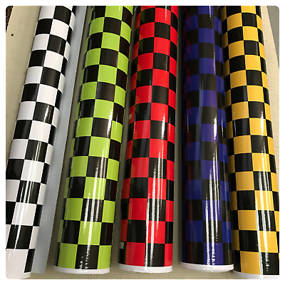 NEW CHECK CHEQUERED GLOSS VINYL CAR WRAP WRAPPING GRAPHIC sticker bomb Car Roof