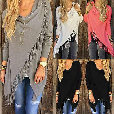 Womens Casual Long Sleeve Jumper Sweater Cardigan Ladies Fringe Shawl Tops Coat