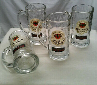 4 Bacardi Oakheart Rum Steins - 14 oz Beer Mugs, Heavy Glass Drinking Steins