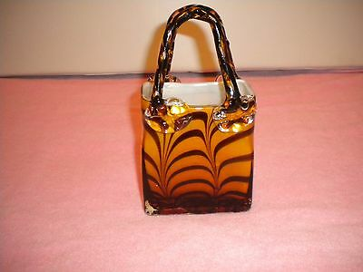 Vintage Murano Style Hand Blown Decorative Art Glass Purse 2999