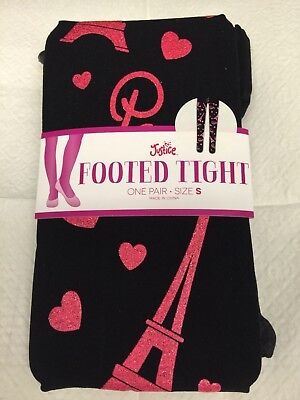 Nwt Justice Black Paris Eiffel Tower Trendy  Tights Size S