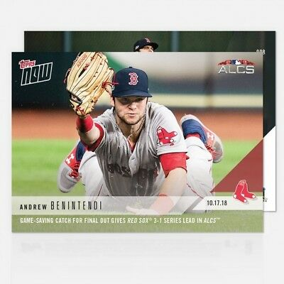 2018 Topps NOW MLB 908 Andrew Benintendi Game-Saving Catch for Final Out
