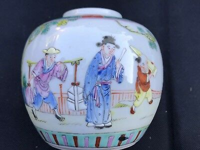 Antique Chinese Famille Verde  Hand Painted Small Ginger Jar Qing Dynasty