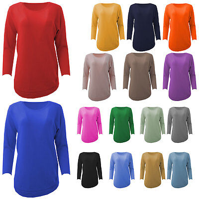 New Womens Italian Angora Wool Mix Curve Rib Hem Long Sleeved Ladies Jumper Top