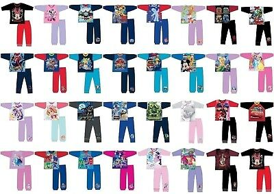 Boys Girls Kids Baby Toddler Teenage Character Long Pyjamas pjs 1-12 Years