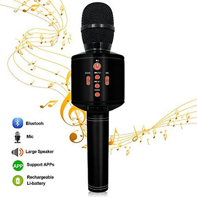 Protable Bluetooth Karaoke Microphone Wireless MODAR Dual Speakers, Black
