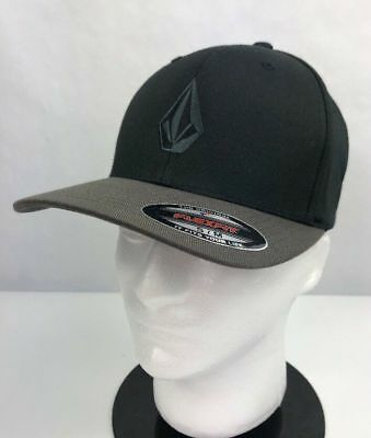 Volcom Mens Flexfit Hat Fitted Cap Full Stone Black Gray Variety Sizes 839f662141a8