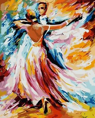 DANCING ABSTRACT PAINTING PAINT BY NUMBERS CANVAS KIT 20 x 16 ins FRAMELESS
