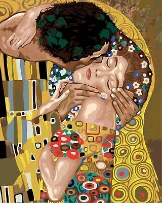 "KLIMT THE KISS ABSTRACT PAINTING PAINT BY NUMBERS CANVAS KIT 20"" x 16"" FRAMELESS"