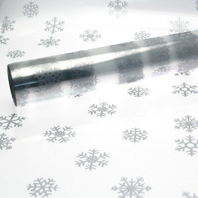 Christmas Cellophane Large Silver Snowflake 1M - 100 Meter 80cm Wide Gift Wrap