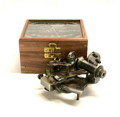 Antique Brass Pocket Sextant Navigation Nautical Marine Vintage Wooden Glass Box