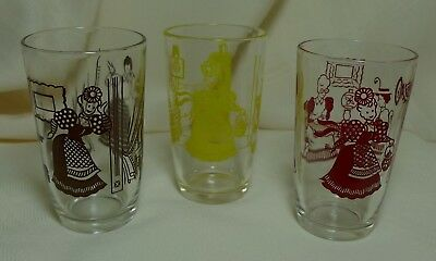 Vintage Bustling Betty Kraft Swanky Swig Juice Glass Lot of 3 Red Brown Yellow